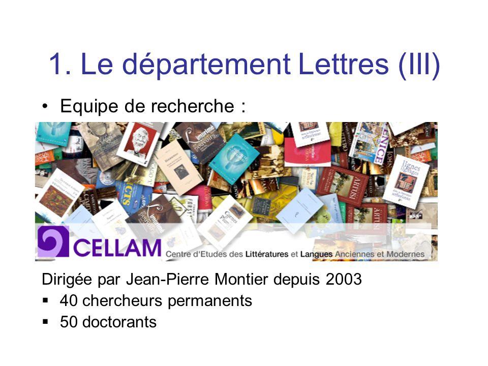 1. Le département Lettres (III)