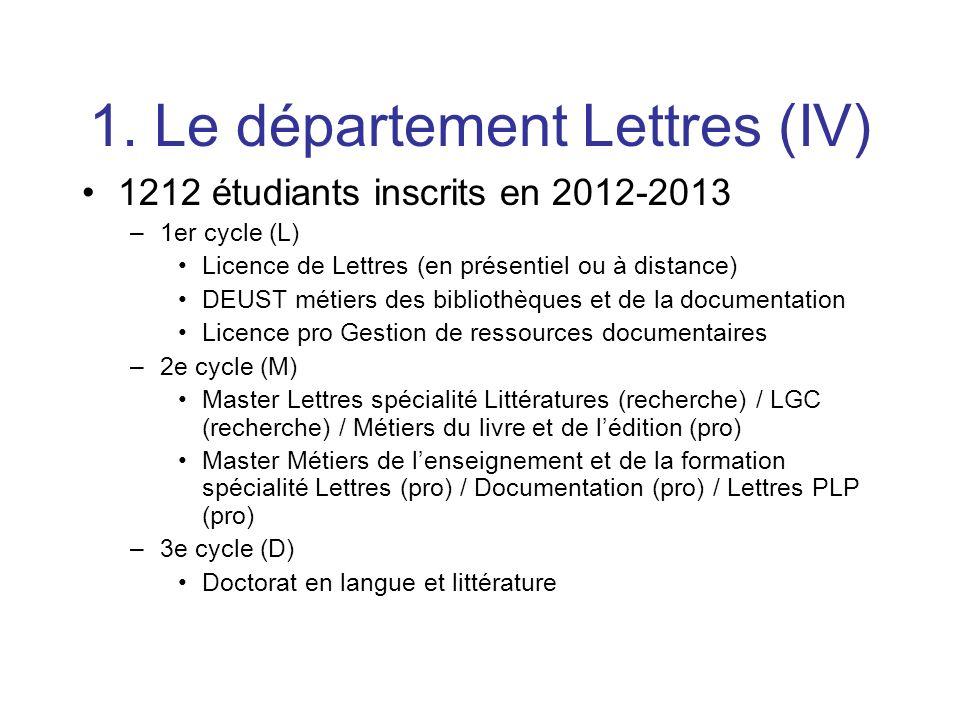 1. Le département Lettres (IV)