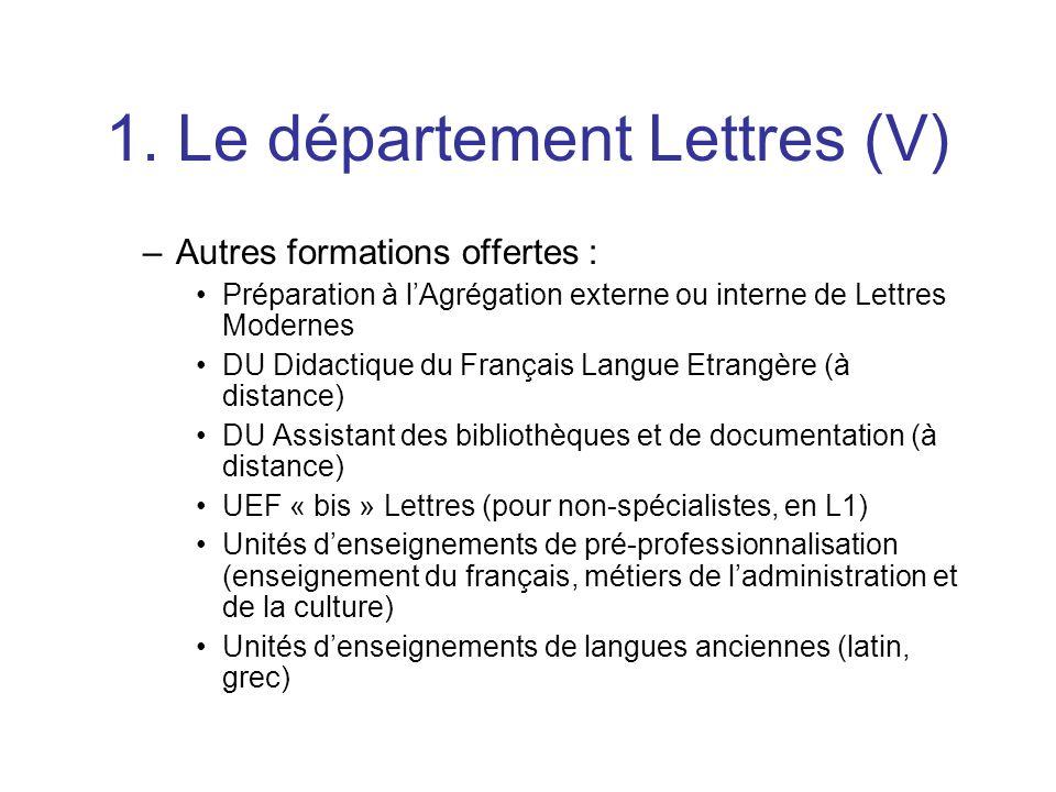 1. Le département Lettres (V)