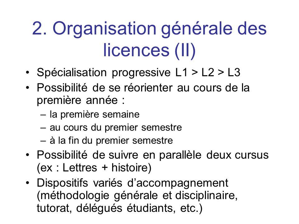 2. Organisation générale des licences (II)