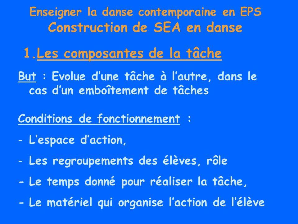 Enseigner la danse contemporaine en EPS Construction de SEA en danse