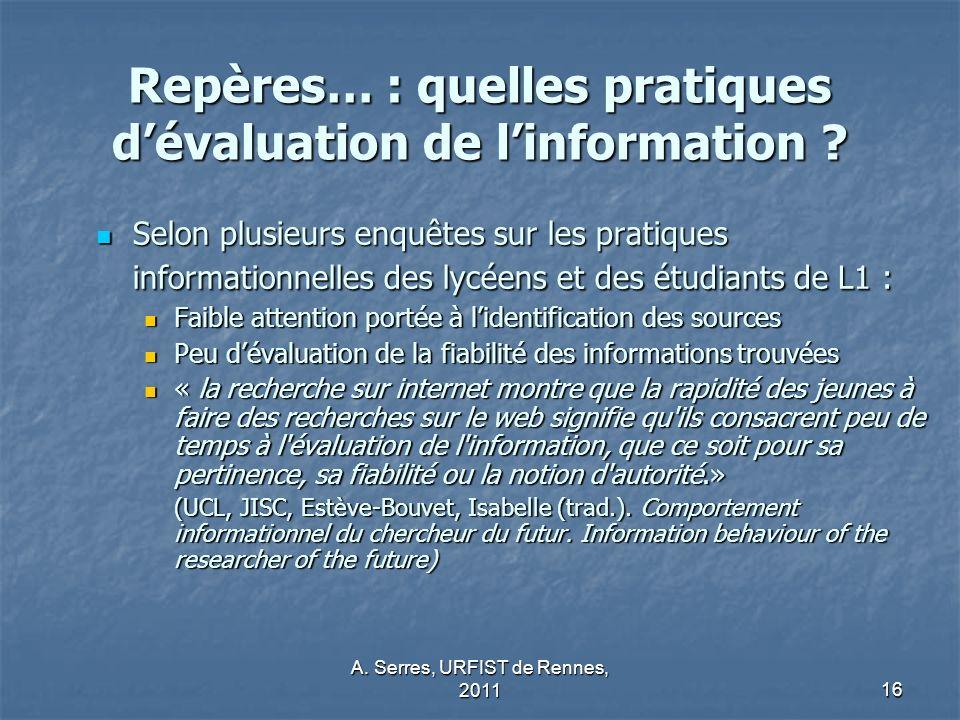 Repères… : quelles pratiques d'évaluation de l'information