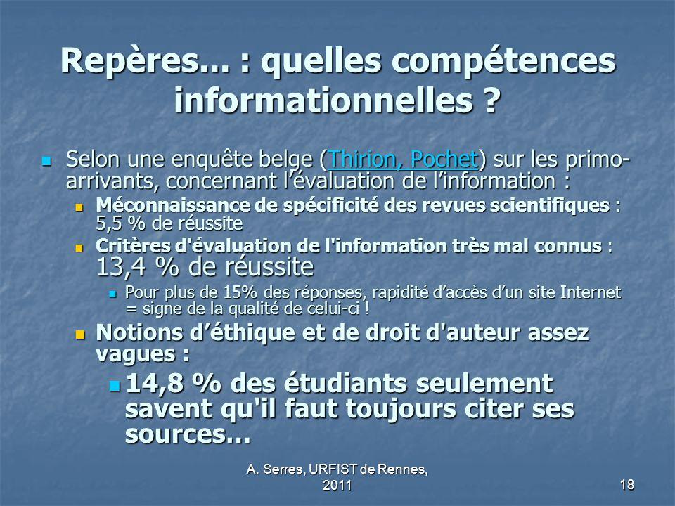 Repères... : quelles compétences informationnelles
