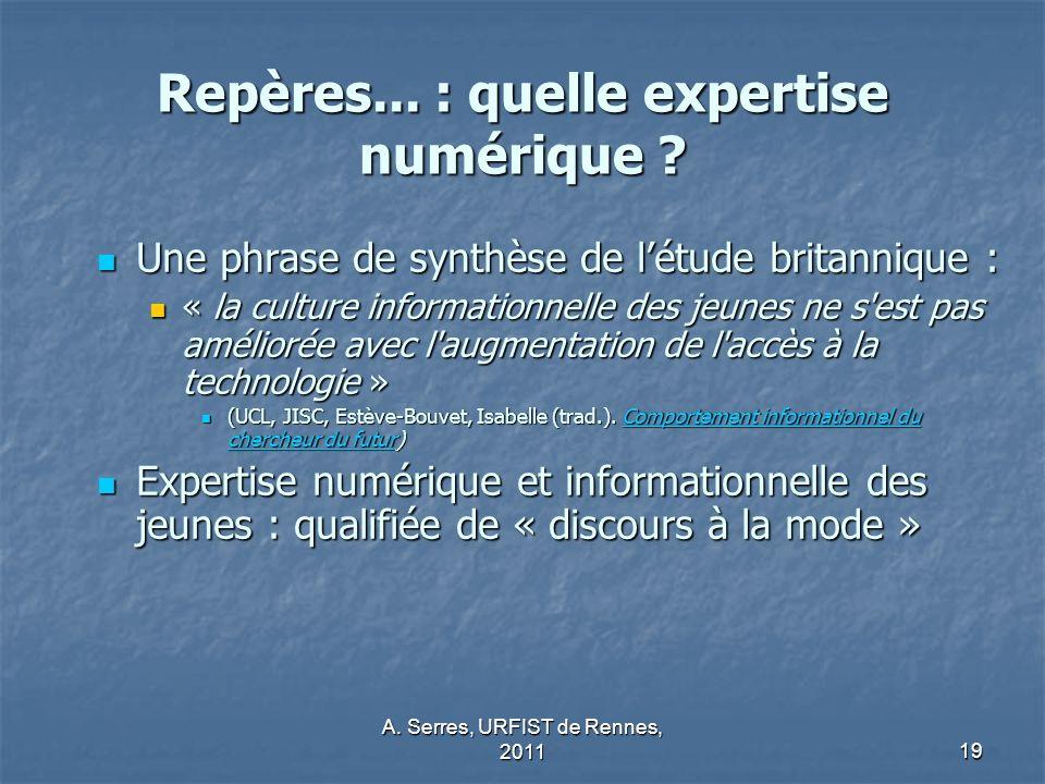 Repères... : quelle expertise numérique