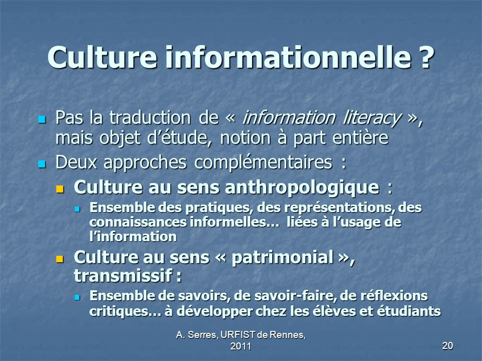 Culture informationnelle