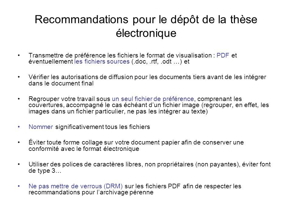 Recommandations pour le dépôt de la thèse électronique