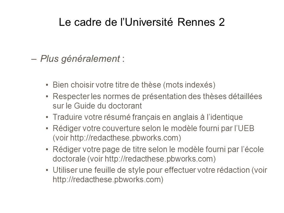 Le cadre de l'Université Rennes 2