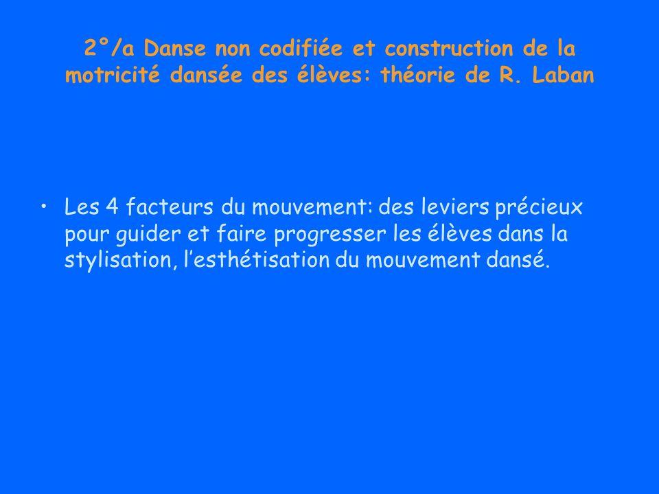 2°/a Danse non codifiée et construction de la motricité dansée des élèves: théorie de R. Laban