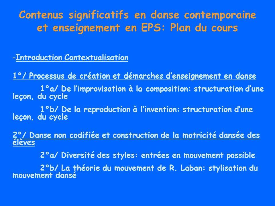Contenus significatifs en danse contemporaine et enseignement en EPS: Plan du cours