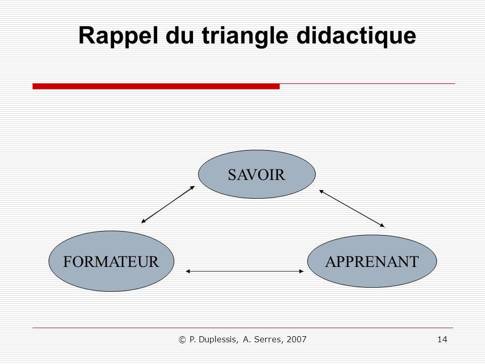 Rappel du triangle didactique