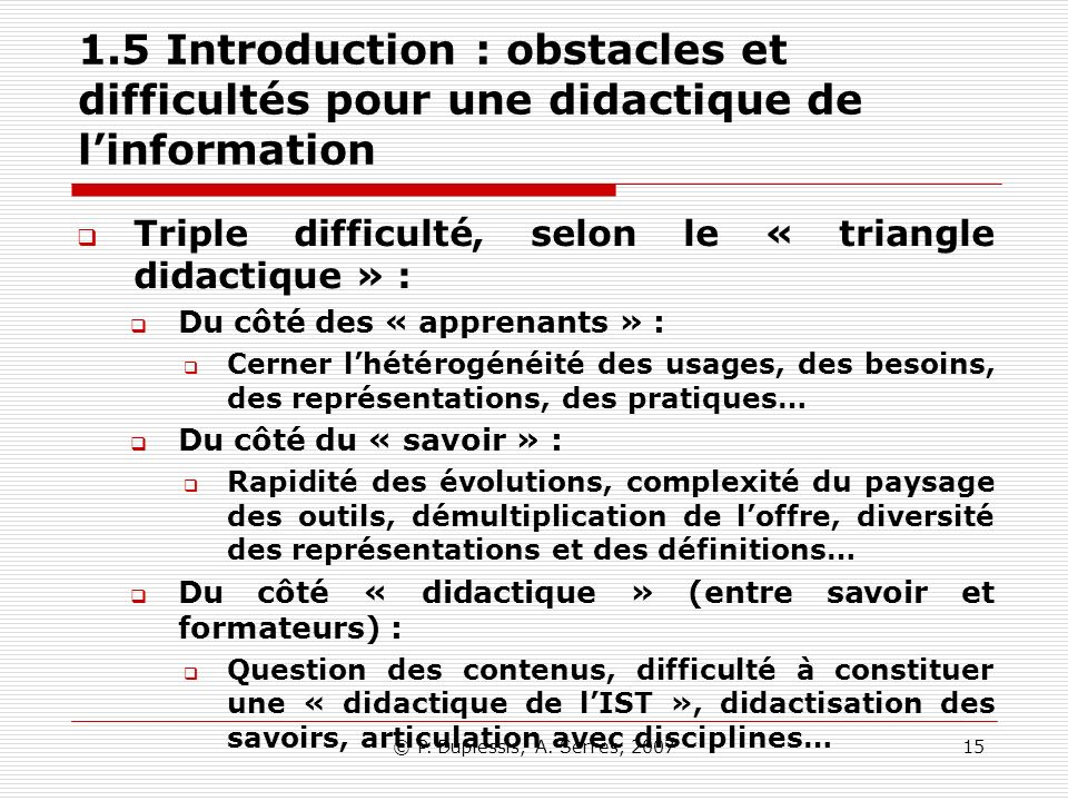 1.5 Introduction : obstacles et difficultés pour une didactique de l'information
