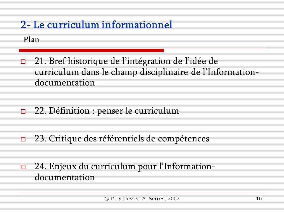 2- Le curriculum informationnel Plan