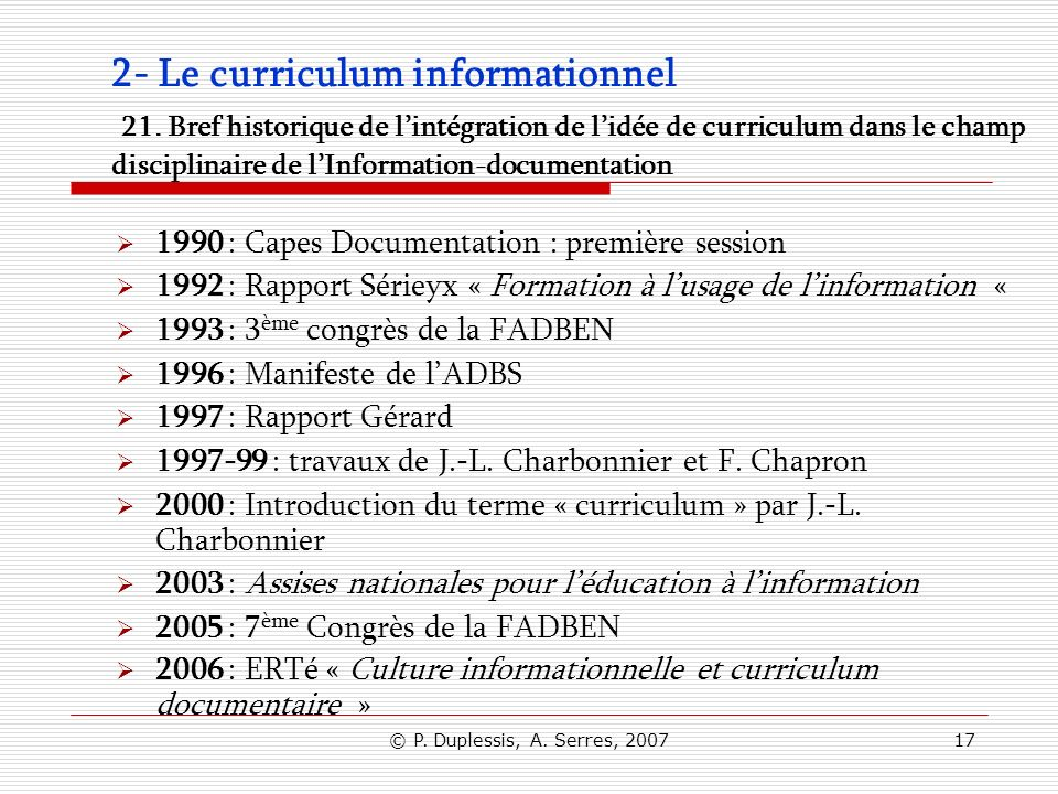 2- Le curriculum informationnel 21
