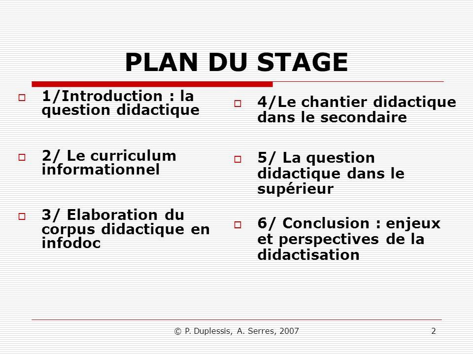 PLAN DU STAGE 1/Introduction : la question didactique