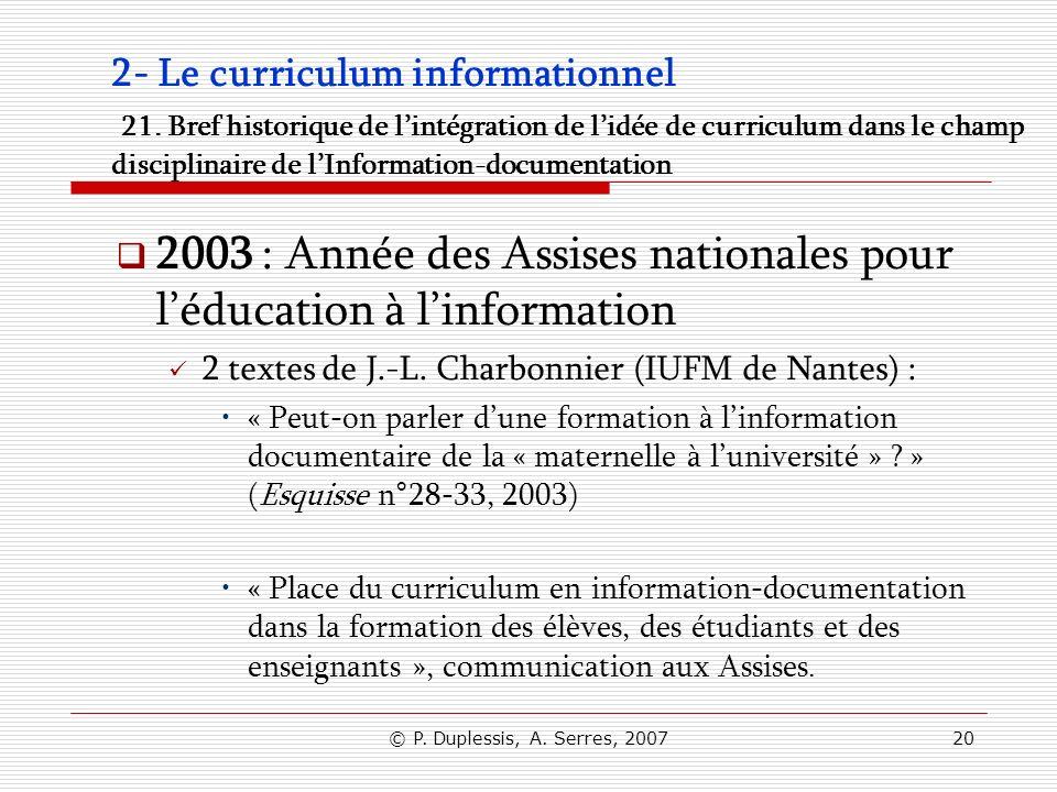 2003 : Année des Assises nationales pour l'éducation à l'information