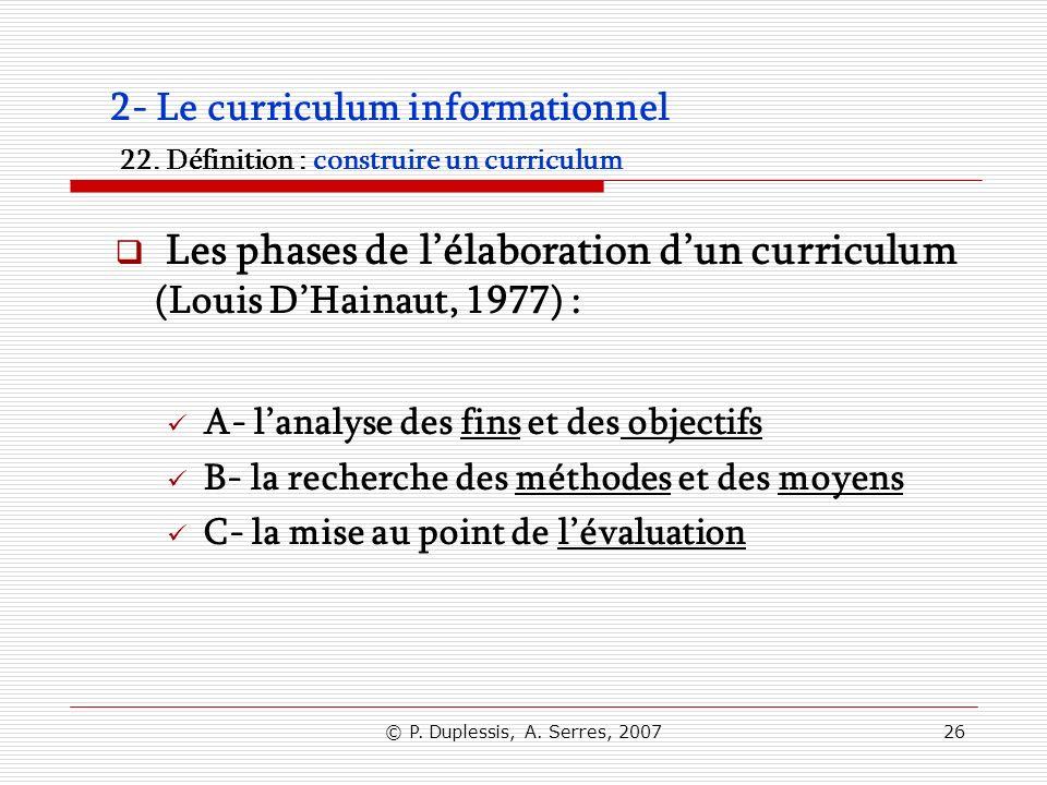 Les phases de l'élaboration d'un curriculum (Louis D'Hainaut, 1977) :