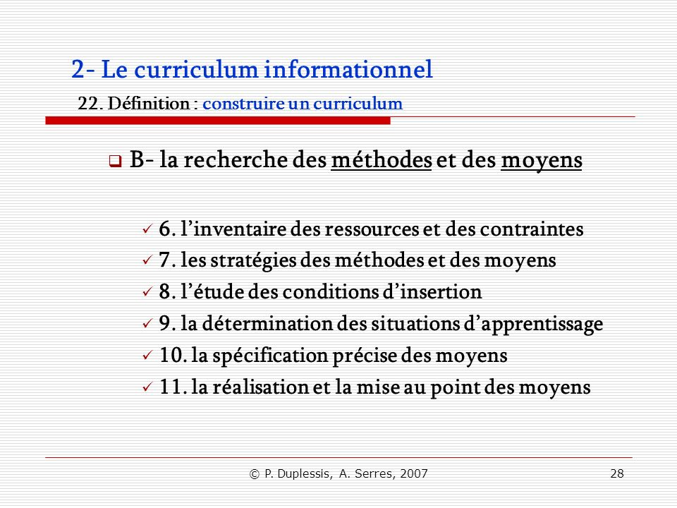 2- Le curriculum informationnel 22