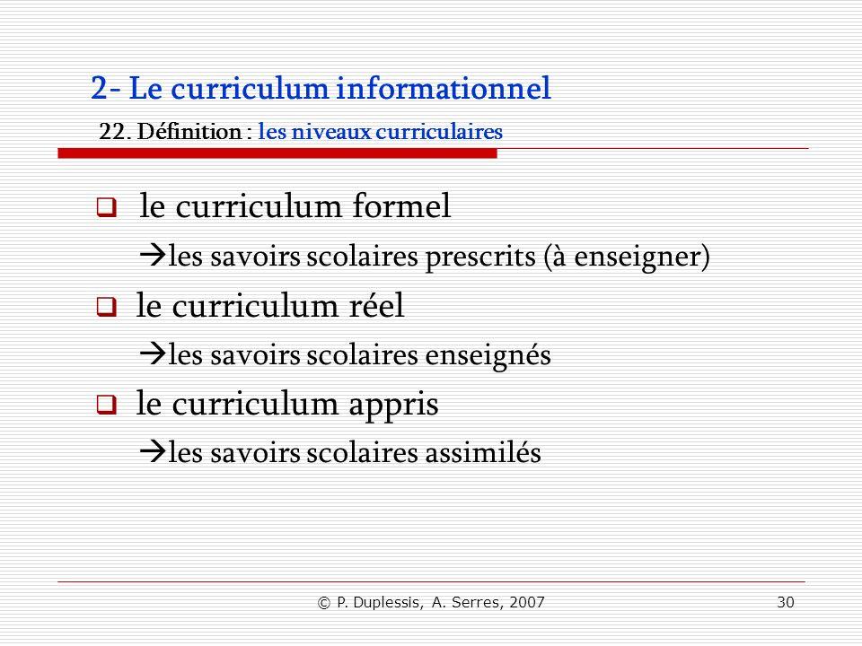 le curriculum formel le curriculum réel le curriculum appris