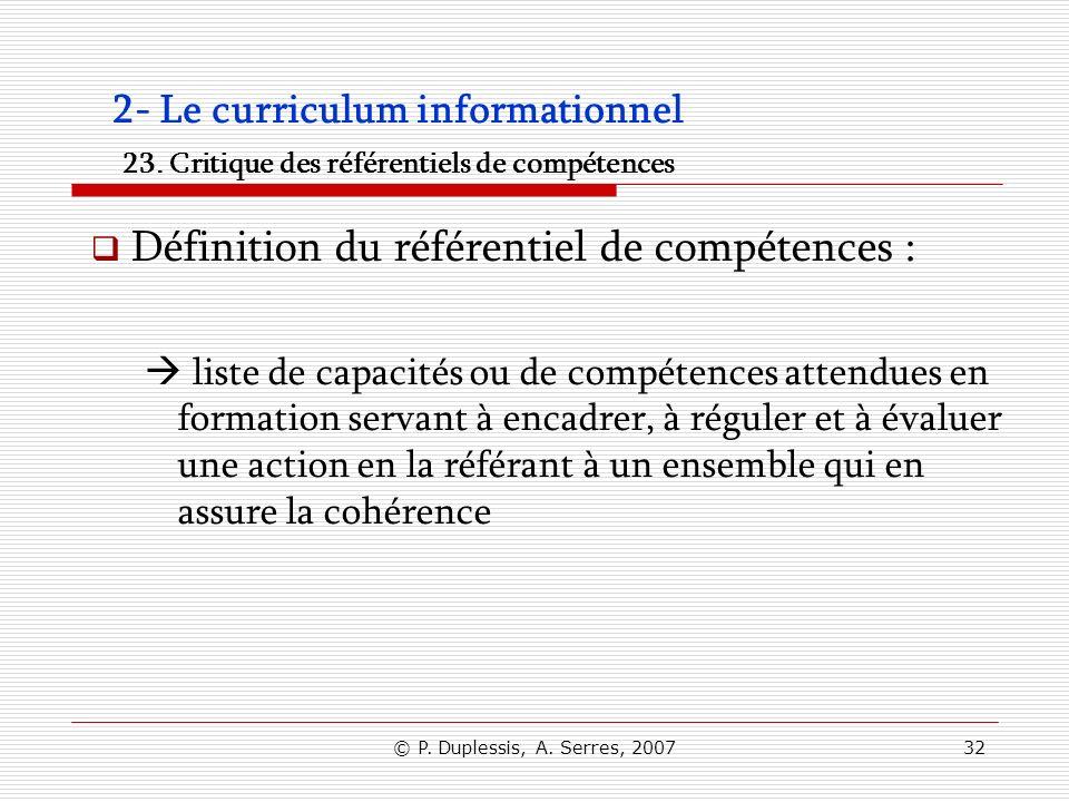 Définition du référentiel de compétences :