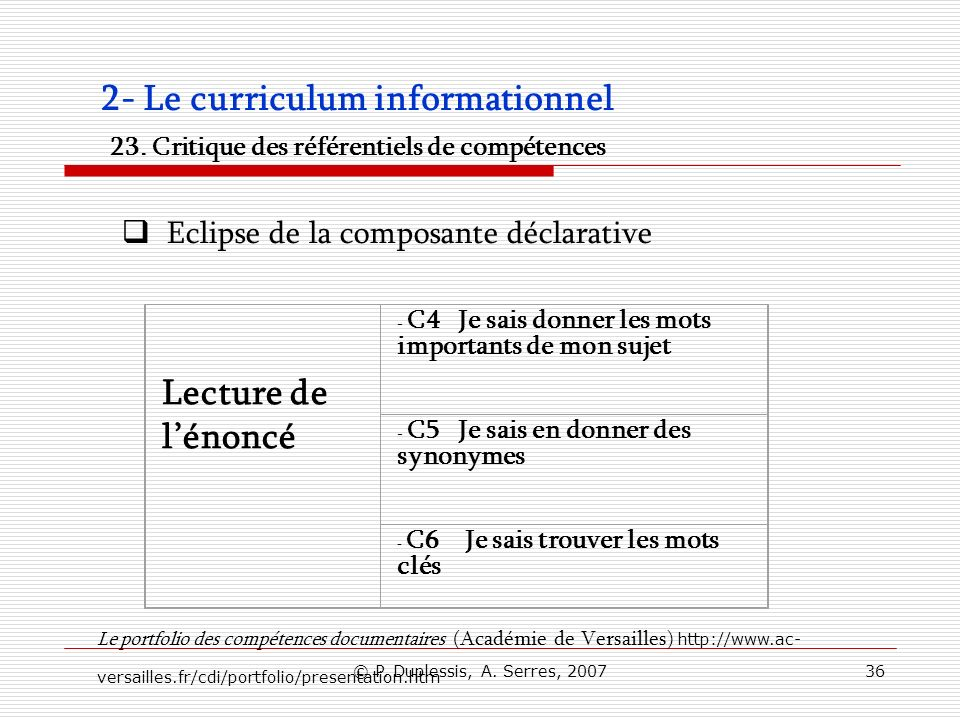 2- Le curriculum informationnel 23