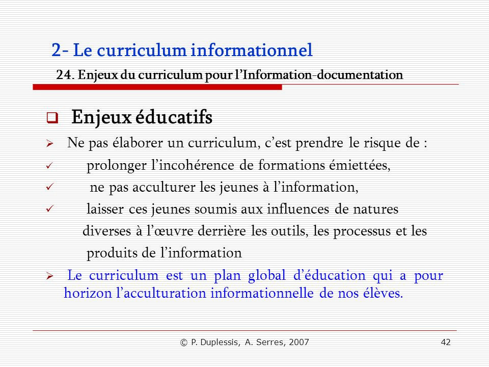 2- Le curriculum informationnel 24