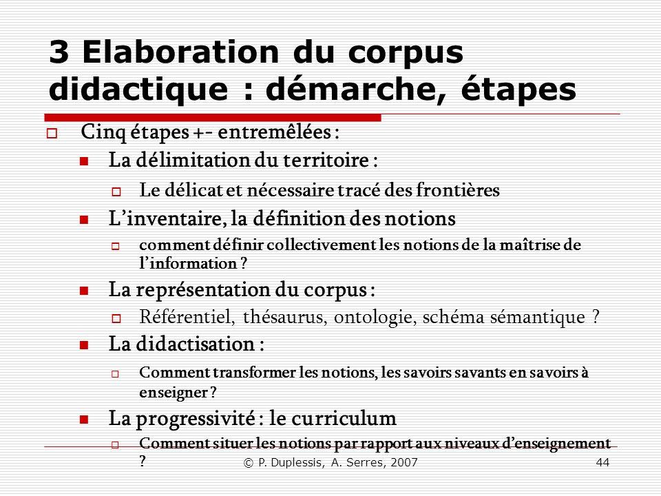 3 Elaboration du corpus didactique : démarche, étapes