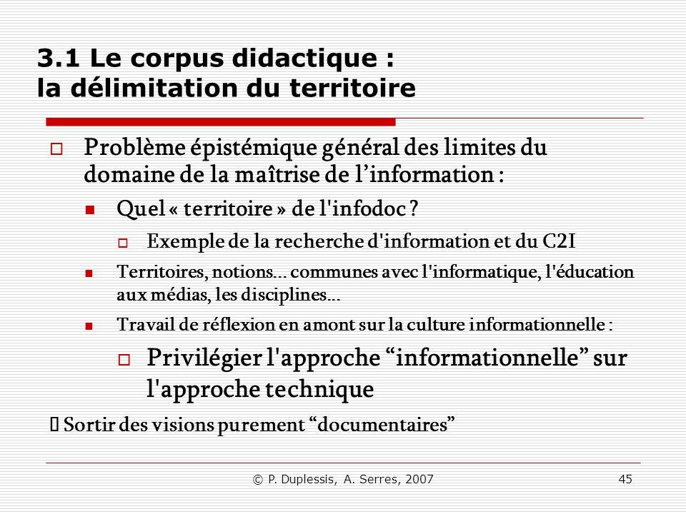 3.1 Le corpus didactique : la délimitation du territoire