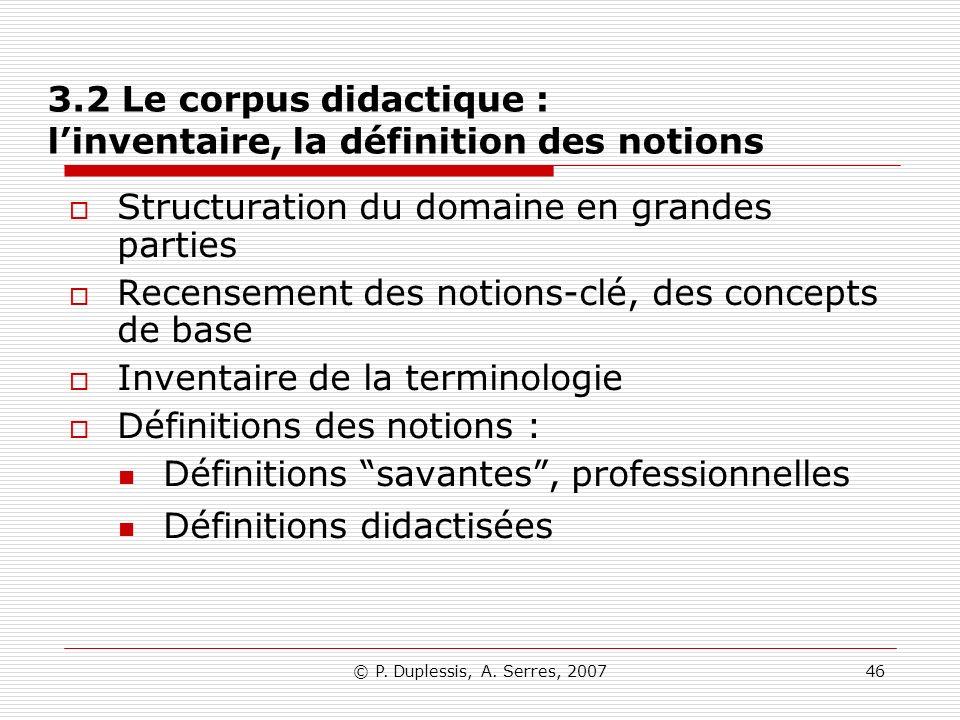 3.2 Le corpus didactique : l'inventaire, la définition des notions