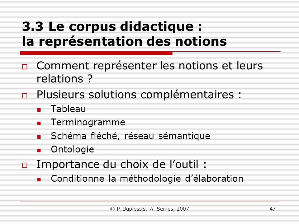 3.3 Le corpus didactique : la représentation des notions