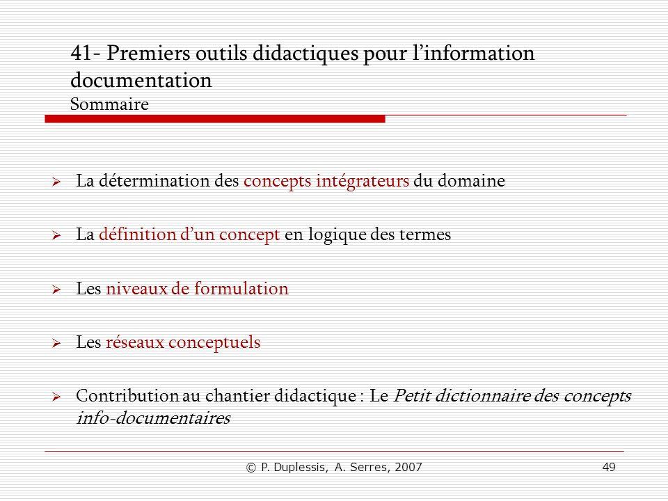 41- Premiers outils didactiques pour l'information documentation Sommaire