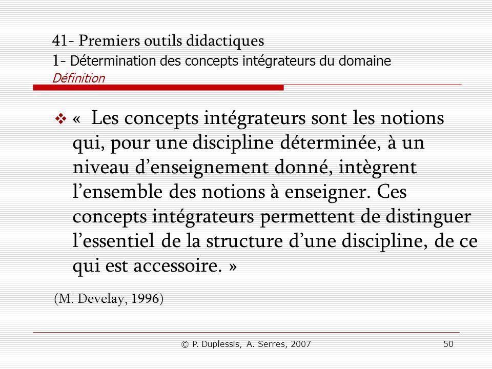 41- Premiers outils didactiques 1- Détermination des concepts intégrateurs du domaine Définition
