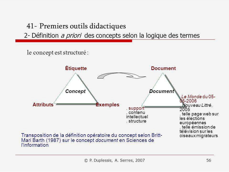 41- Premiers outils didactiques 2- Définition a priori des concepts selon la logique des termes
