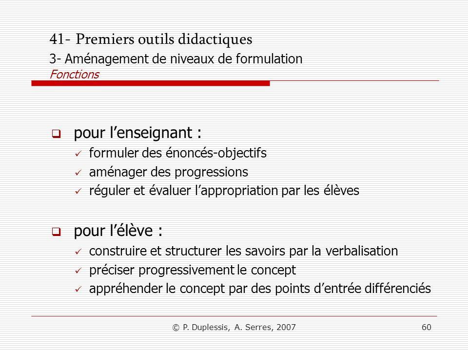 41- Premiers outils didactiques 3- Aménagement de niveaux de formulation Fonctions