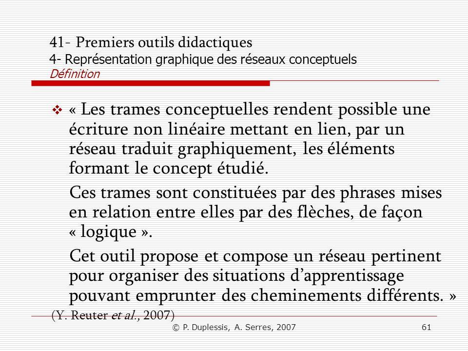 41- Premiers outils didactiques 4- Représentation graphique des réseaux conceptuels Définition