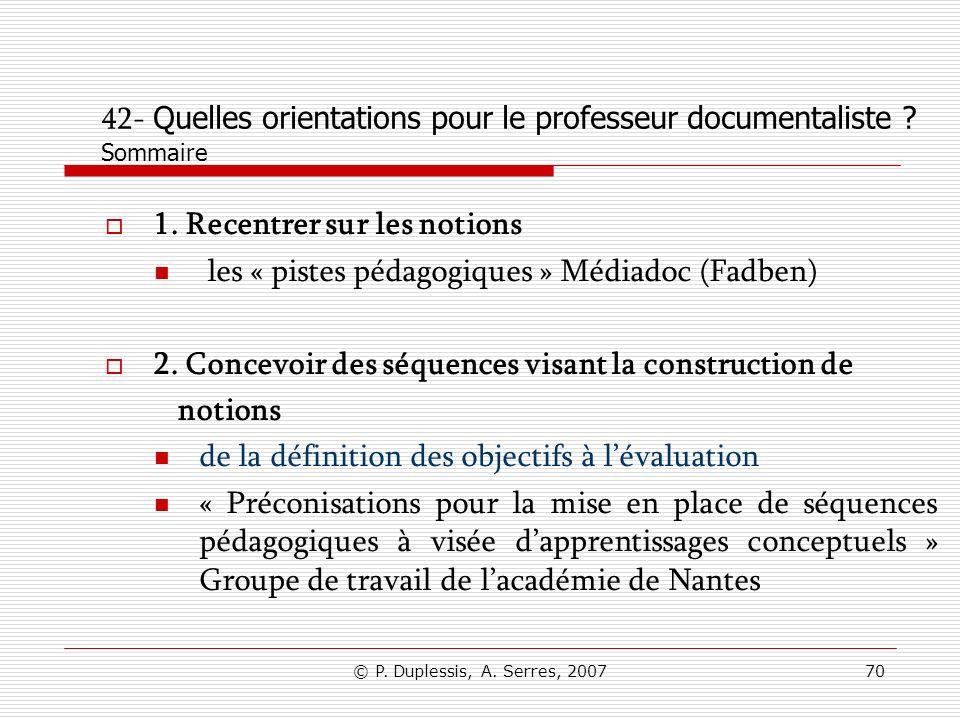 42- Quelles orientations pour le professeur documentaliste Sommaire
