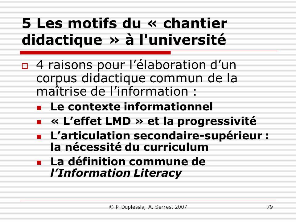 5 Les motifs du « chantier didactique » à l université
