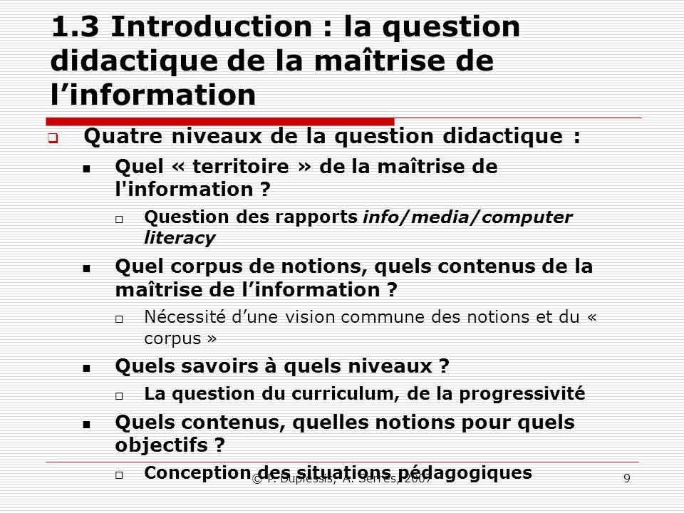1.3 Introduction : la question didactique de la maîtrise de l'information