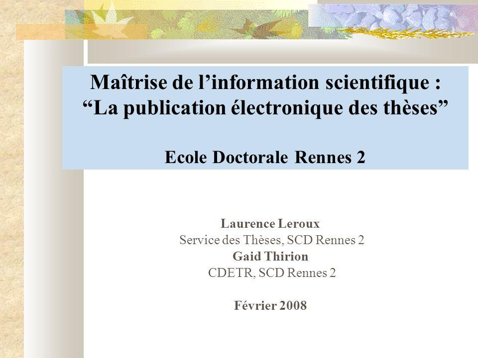 Service des Thèses, SCD Rennes 2