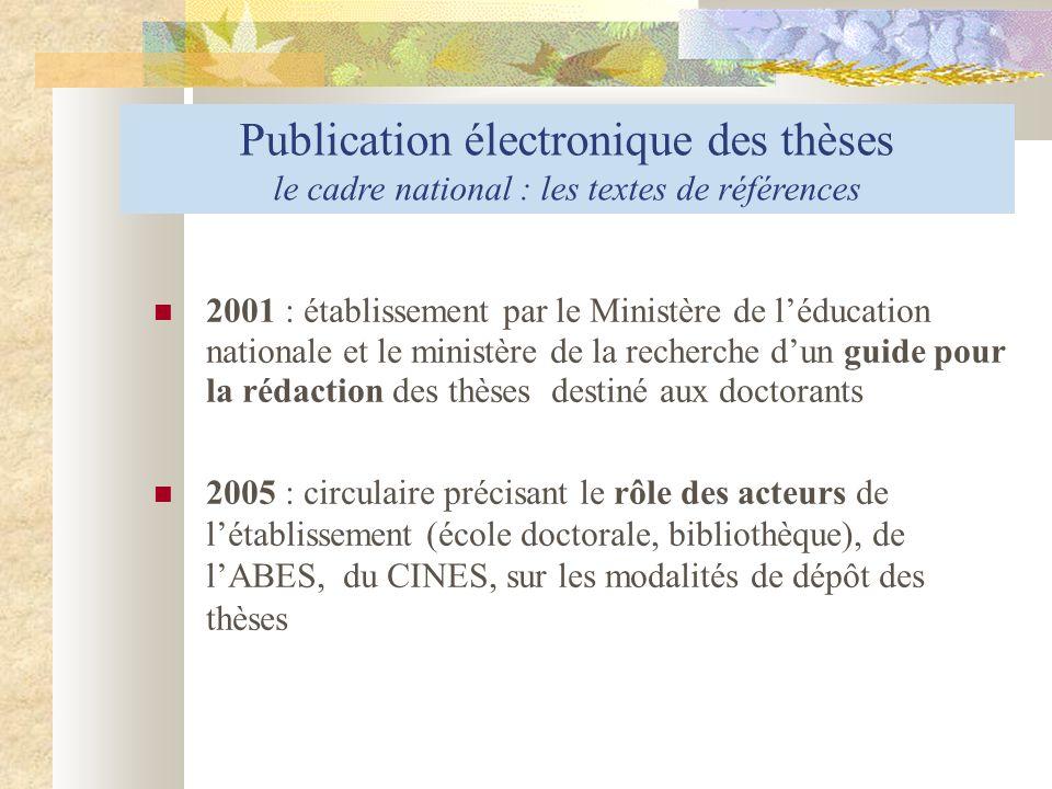 Publication électronique des thèses le cadre national : les textes de références