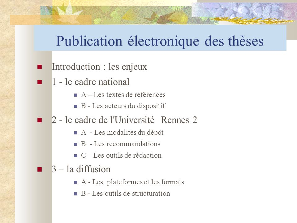 Publication électronique des thèses
