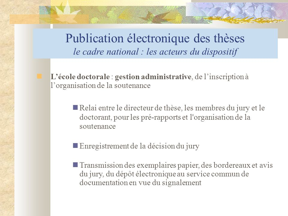 Publication électronique des thèses le cadre national : les acteurs du dispositif