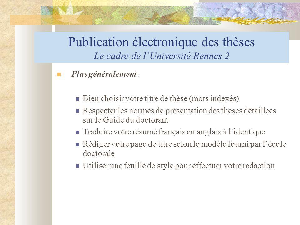 Publication électronique des thèses Le cadre de l'Université Rennes 2