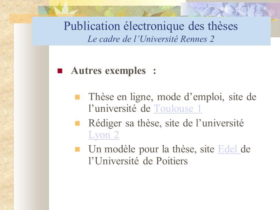 Publication électronique des thèses la diffusion : les modalités