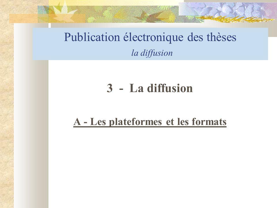 A - Les plateformes et les formats