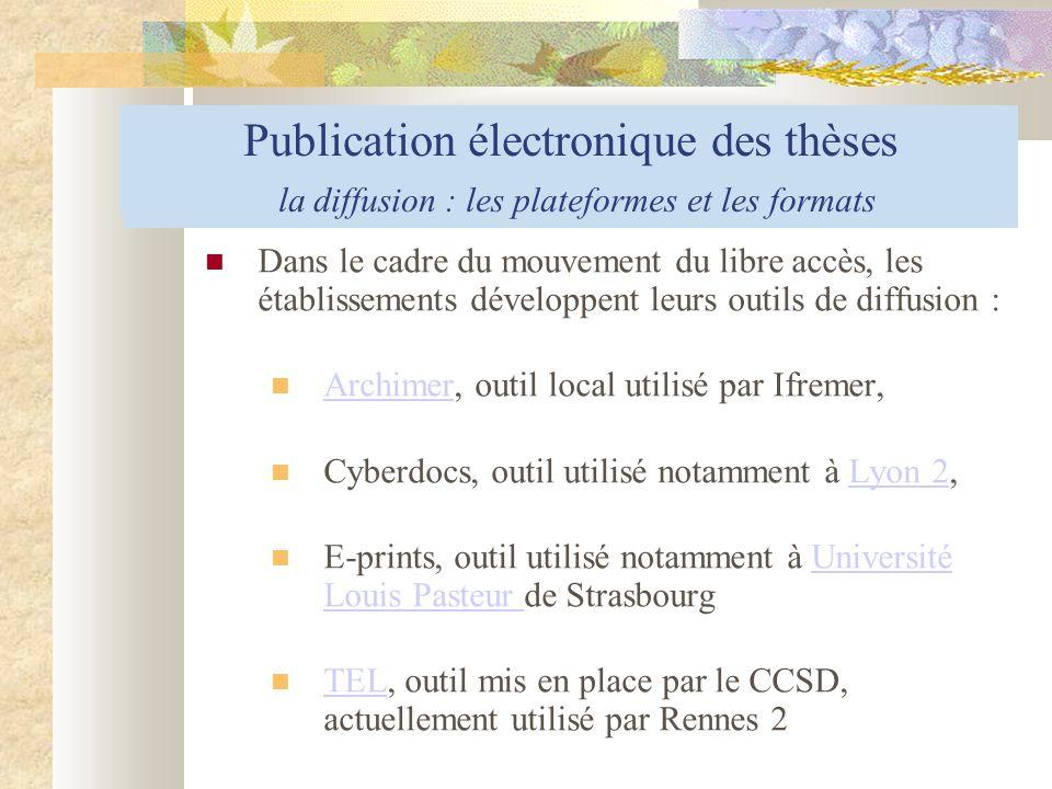 Publication électronique des thèses le processus de dépôt électronique