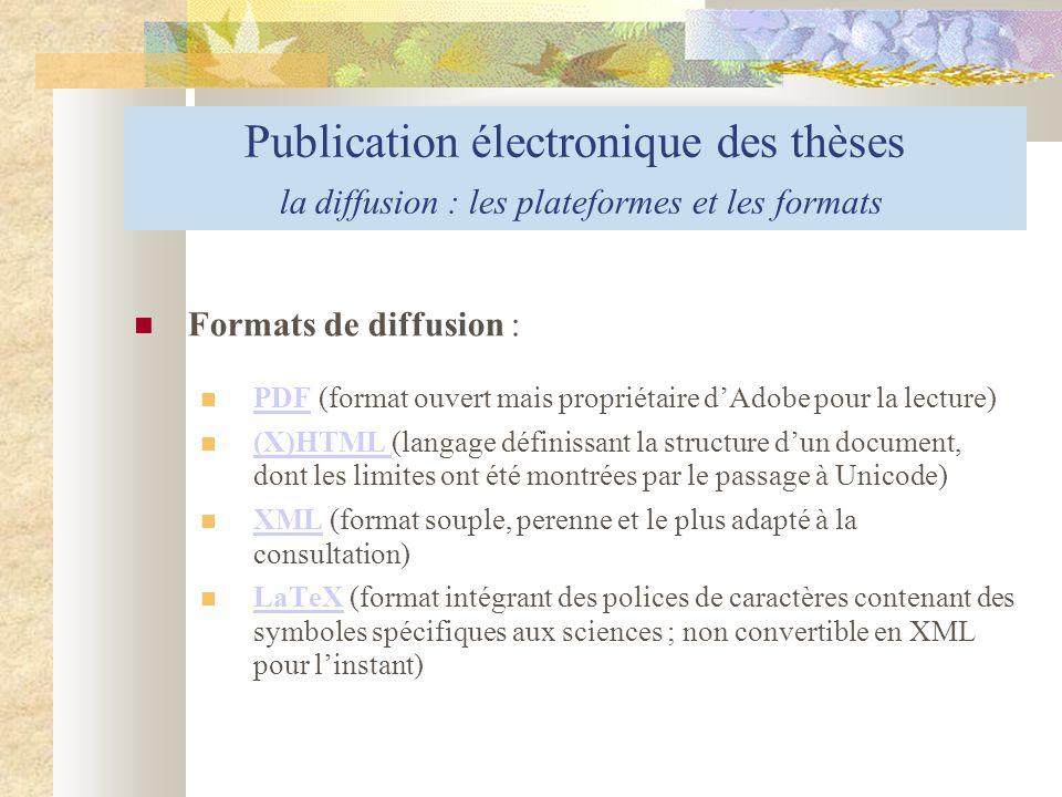 Publication électronique des thèses la diffusion : les plateformes et les formats