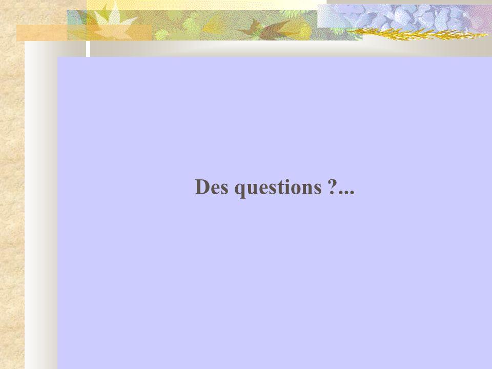 Des questions ...