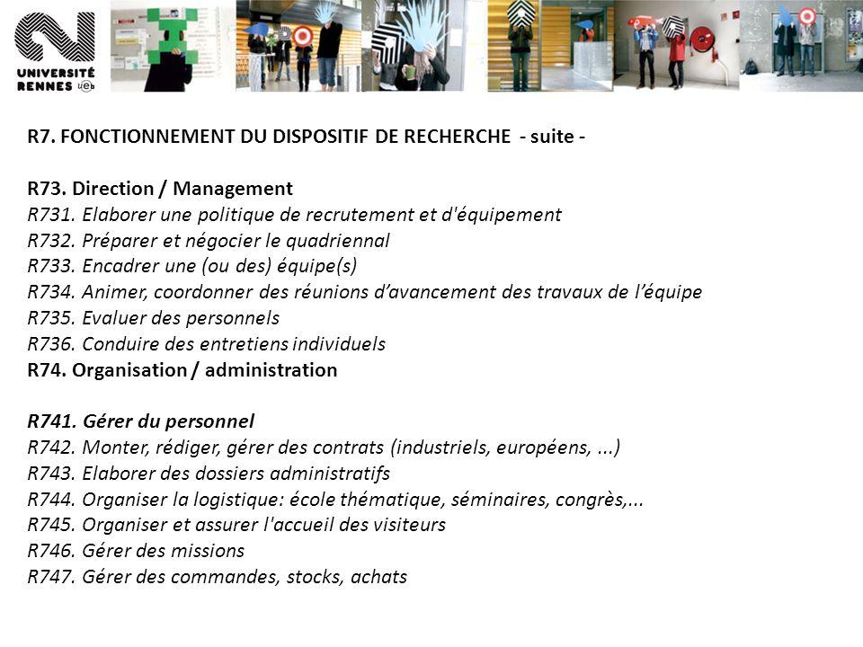 R7. FONCTIONNEMENT DU DISPOSITIF DE RECHERCHE - suite -
