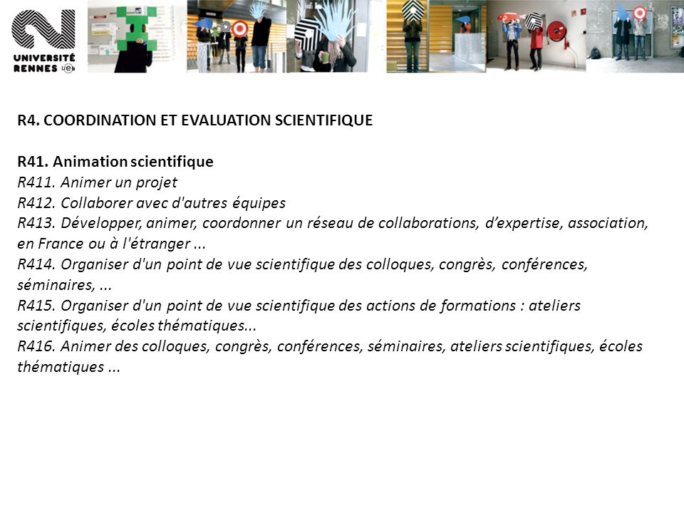 R4. COORDINATION ET EVALUATION SCIENTIFIQUE