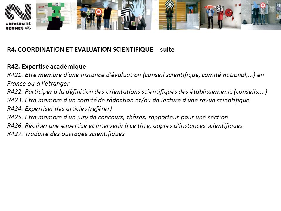 R4. COORDINATION ET EVALUATION SCIENTIFIQUE - suite